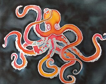 Red-Hot Squid: Silk Art Handkerchief