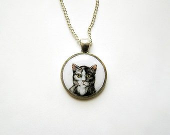 Animal Pendant Necklace Cat Portrait silvertone watercolor hand painting for pets lovers, grey and white, cat lovers jewelry