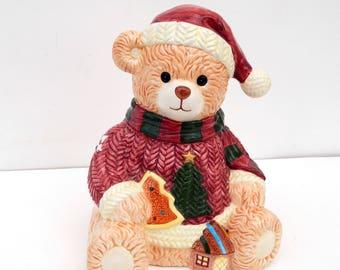 Vintage Teddy Bear Christmas Cookie Jar Debco House of LLoyd, Hand Painted Large Ceramic Cookie Jar, Christmas Cookie Jar, Christmas Decor