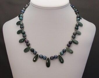Black Pearl Necklace, Bolivian Ravens Wing Pearl Necklace, Chatoyant Quartz Necklace, Ravens Wing Pearls, Uniqure Black Pearls, Black Raven