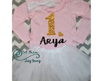 Customized First Birthday long sleeve Birthday shirt  Baby Girl Shirt Baby Girl Custom 1st Birthday Shirt Gold Glitter First Birth Day