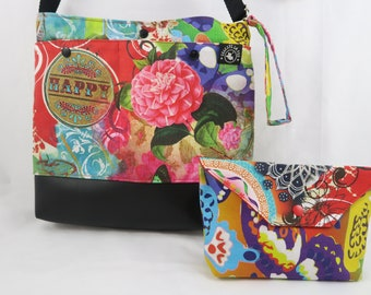 """Adjustable bondouliere bag in canvas and pleather vegan with a matching pouch """"Happy"""""""