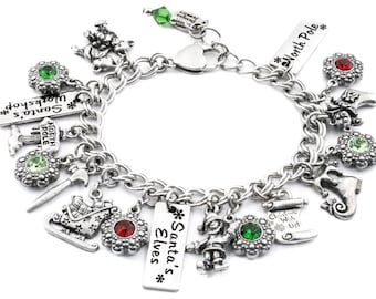 Elves Bracelet, Santa's Workshop Jewelry, Elves Bracelet, with Ruby and Emerald Crystals and 17 Silver Charms