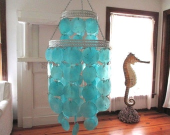 Capiz Shell Chandelier, Electric, Turquoise/Silver