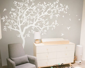White Large Tree Wall Decal with Birds Mural for Kids Room - NT018