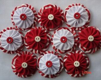 Peppermint Fabric yo yo Applique Embellishment Christmas Decoration Santa