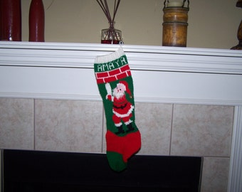 Personalized Handmade Knitted Christmas Stocking *Wool Available** - Fuzzy beard Santa with Candle