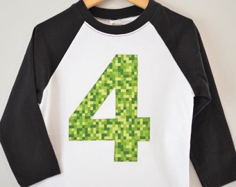 Ready to Ship, Boys 4th Birthday Shirt, Applique Four Shirt, Video Game Gamer Pixel, Black and White Raglan, Green, Size 4 4T, Gamer Party