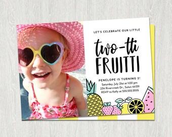 Twotti Frutti Birthday Invitation, Tutti Frutti, 2nd Birthday Invitation Girl, Fruit Birthday, Twotti Fruity, Summer Birthday Invitation