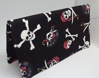 Pirates Skulls Bones Checkbook Cover Coupon Holder Clutch Purse Billfold Ready-Made