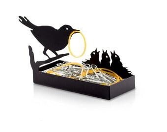 Mother Nurture // Birds Nest Desk Organizer // Paper Clip Holder // Desk Accessories // Metal Designed Art // Unique Gift // by ArtoriDesign