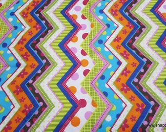 Flannel Fabric - Patterned Zig Zags - By the yard - 100% Cotton Flannel
