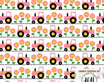 Pink Tractor Fabric By The Yard / Farm Fabric / Children's Fabric / Kids Crafts / Quilting Fabric / Whimsical Print in Yards & Fat Quarter