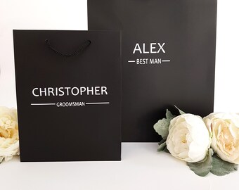 Large Black Personalized Gift Bags - Name + Title