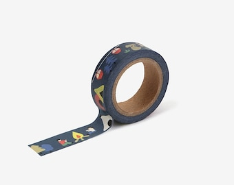 Camping printed Korean washi tape for scrapbooking, decorations (15 mm x 10 m)