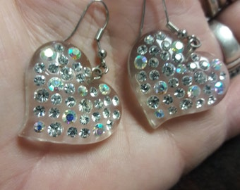 Rhinestone Lucite Aurora Borealis Heart Earrings