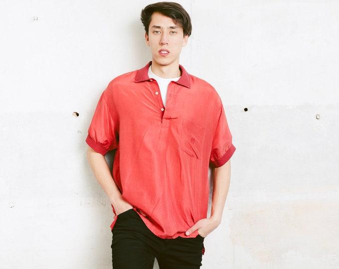 Red Silk Henley Shirt . Men's Vintage 90s Washed Silk Shirt Summer Oversized Skater Fit Unisex 1990s Short Sleeve Shirt . size Large L