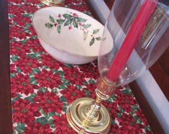 "108"" or 120"" Red Poinsettia Table Runner Reversible Christmas Table Runner Long Christmas Red Table Runner Long Christmas Poinsettia Runner"
