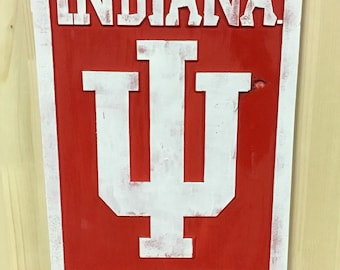 Indiana Hoosiers Carved Wood & Hand Painted Sign