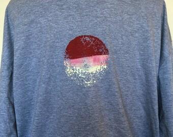 Sun T Shirt, T Shirt, Mens T Shirt, Unisex T Shirt, Red Sun T Shirt, Abstract Art, Screen Print, Sun Rise, Gift for Him, Graphic T Shirt