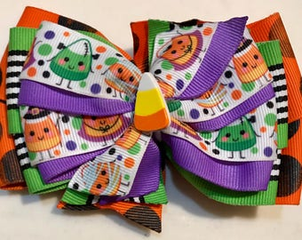 Orange Purple Green and Black HALLOWEEN Fall Candy Corn Costumes Boutique Style Ribbon Bow Handmade for PETS Dog Collar Accessory