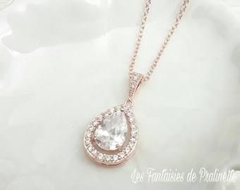 Bridal necklace, Wedding necklace, wedding pendant, rose gold wedding necklace, zircon crystal pendant, drop bridal necklace, drop pendant