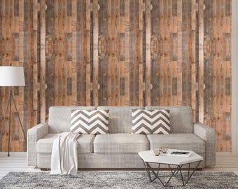 Temporary Wallpaper Distressed Realistic Wood Plank Rustic Removable Wallpaper Panels Peel and Stick Wall Decor CC107