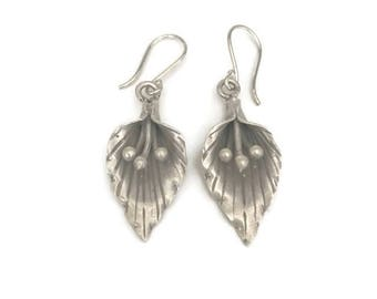 Sterling Silver oxidised Lily Earrings