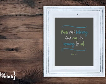 Wall Art (LifePrints) - Knowing He Will (grey, green, teal, white) Isaiah 26:4 - 8 x 10 Print