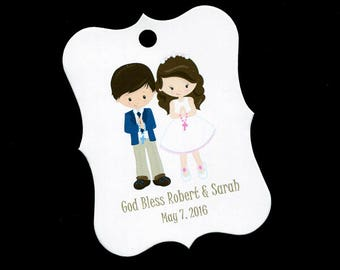 Personalized Communion Favor Tags - First Communion Tags - First Holy Communion Favor Tags - Girls Communion Tags - Twins