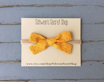 Mustard baby bow, hand tied bow, baby girl headband, nylon headband, school girl bow, baby bow headband, baby hair bow, infant headband
