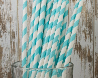 """100 Robin's Egg Aqua Blue barber striped paper drinking straws 