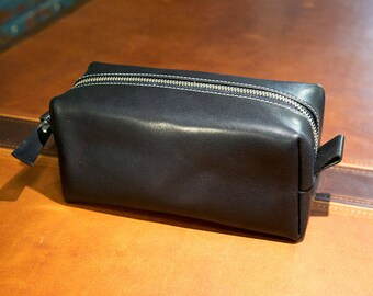 Leather Dopp Kit, Men's Black Leather Travel Kit, Toiletry Bag, Horween Leather Travel Case