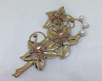 Rose Gold Vintage Brooch, Cultured Pearl Flower Brooch Bouquet, Vintage Sterling and Gold-filled, Floral Brooch Pin