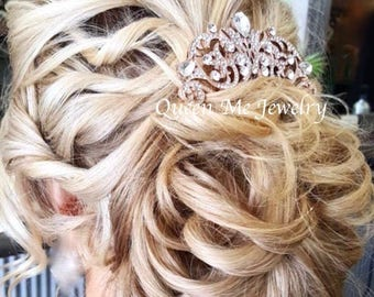 Rose gold hair comb, Brides hair comb, Rose gold crystal hair comb, hair accessories, Crystal hair comb, Hair Jewelry, Wedding accessories