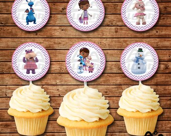 Doc McStuffins Birthday Cupcake Topper, Doc McStuffins Birthday, McStuffins Birthday Cupcake Topper, Doc McStuffins