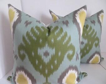 Yellow Green Ikat Pillow, Ikat pillow, Yellow GrayPillow, Green Pillow, Gray Pillow- White Pillow Covers