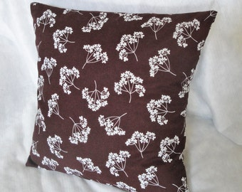 "Brown pillow cover, chocolate brown & white flower pillow slip, fall cushion available in 12x16"", 14"", 16 inches, 18"""