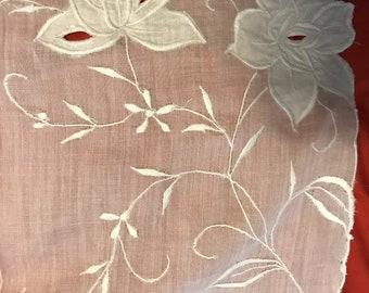 Vintage Hand Embroidered Whitework Floral Bridal/Wedding Handkerchief
