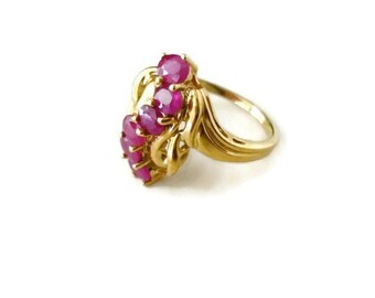 Vintage Ruby Ring 14K Gold July Birthstone Gemstone  1980s