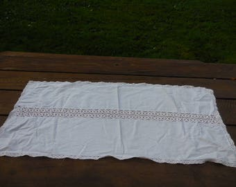 Vintage 1960s to 1970s White Cotton and Light Pink Lace Dresser/Bureau Scarf/Doily Rectangle Retro Not Perfect Bedroom
