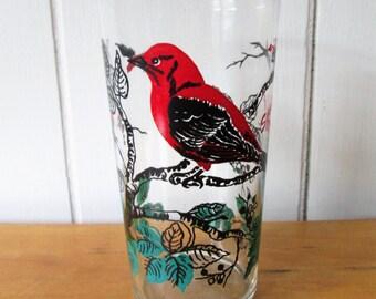 vintage Scarlet Tanager glass
