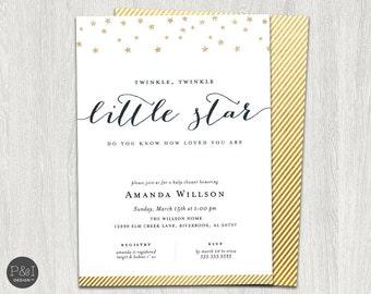 Twinkle Twinkle Little Star Baby Shower Invitation/ DIY/ Customized Printable