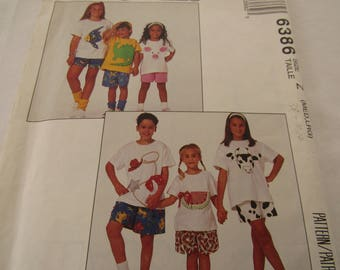 Vintage 1993 McCall's pattern #6386 children's t-shirts with appliques and shorts outfits in two lengths, size Z medium (7-8)/large (10-12)