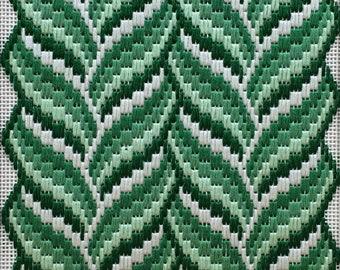 Small monochrome needlepoint kit. Vines Green
