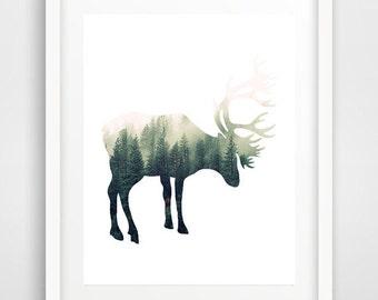 Nursery wall art boy, deer print, deer wall print, deer antlers, deer wall art, wall prints, animal art, forest deer, woodlands print