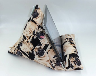 """Tablet, Kindle or Book Bean Bag iPad holder travel stand beanbag """"Pug Life"""" hand made by Joella Hill Australian Seller"""