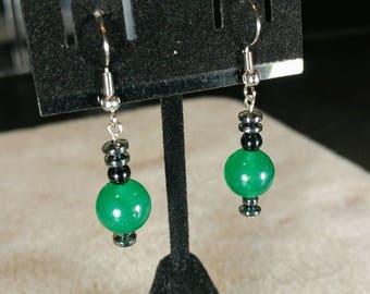 Unique Green Aventurine and Black Jasper Crystal Dangle Earrings // Warm and Comforting // Stylish and Sleek // Green & Black