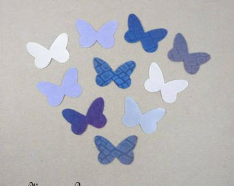 stickers Wings Butterfly silk 3.5 cm harmony blue purple-set of 10 - romantic wall decor, cardmaking, scrapbooking, made in France