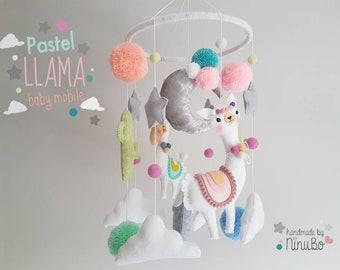 Llama Baby Mobile - Cot Crib Mobile - Mountain Mobile - Pom Pom Mobile - Cloud Mobile